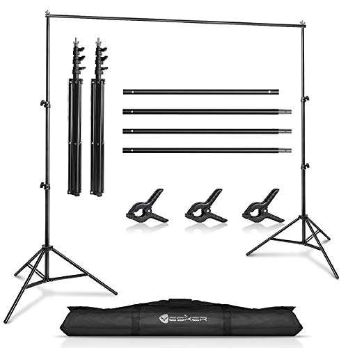 Yesker Photo Video Studio 10ft Adjustable Backdrop Stand, Background Support System Kit with Carry Bag for Photography Studio Parties Wedding