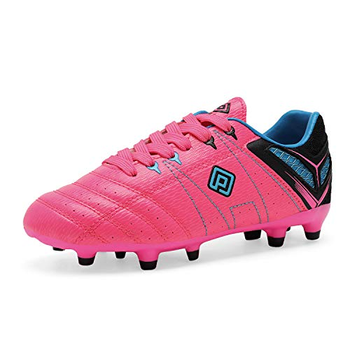 DREAM PAIRS 160471-K Kid's Fashion Soccer Shoes Outdoor Light Weight Lace Up Football Sport Cleats Sneakers (Toddler/Little Kid/Big Kid) Fuchsia-Black-Cyan Size 12