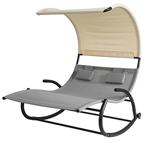 SoBuy OGS50-HG Schaukelliege für 2 Personen Sonnenliege mit Sonnendach Doppelliege Gartenbett mit Rollen Relaxliege grau Belastbarkeit 300 kg BHT ca: 140x180x184cm