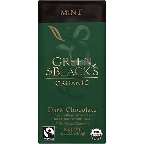 Green & Black's Chocolate Bar - 60% Dark With Mint, 3.5-Ounce (Pack of 5)
