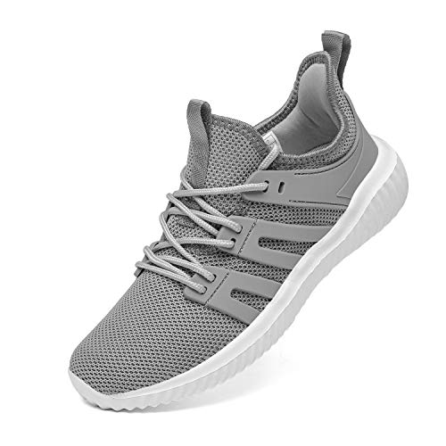 Womens Gym Shoes Lightweight Sport Running Shoes Comfy Tennis Shoes Casual Walking Sneakers for Jogging  Fitness  Work  11  42  Grey
