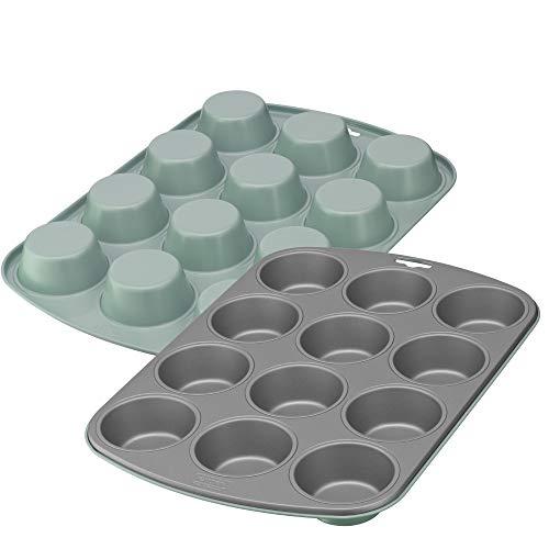 Kaiser EverCream Colors Muffin Backblech für 12 Muffins, Muffinform 38 x 27 cm, antihaftbeschichtet, Standardgröße, Cupcake Formen, grün
