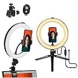 """MACTREM Ring Light 10"""",Luce ad Anello LED Dimmerabile con treppiede Supporto per Cellulare e Super Morsetto Clamp Luce per Selfie 3 Modalità & 10 Luminosità per Youtube,Trucco,Selfie e Video,TikTok"""