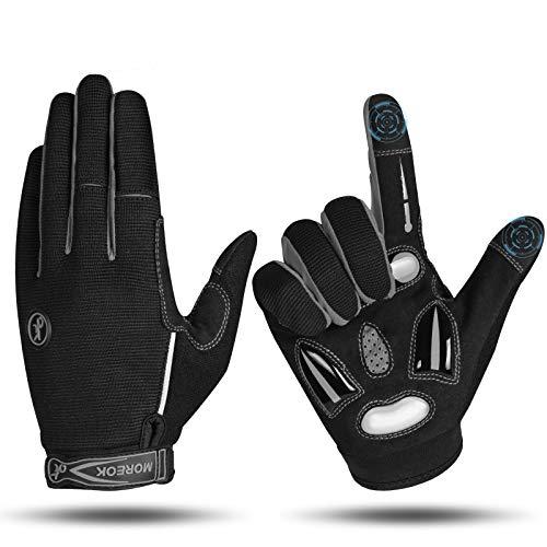 MOREOK Fahrradhandschuhe für Herren Und Damen,5MM SBR+Flüssigkeit Gel Stoßdämpfende Full Finger Atmungsaktiv Rutschfestes Radsporthandschuhe MTB Handschuhe Grau-S