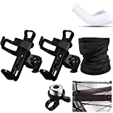 2 Pieces Bike Water Bottle Holder Bicycle Bottle Cage Mount with 1 Piece Bike Frame Chain Protective Guard, 1 Piece Face Cover Neck Gaiter, 1 Piece Bike Bell Ring and 1 Pair Arm Sleeves