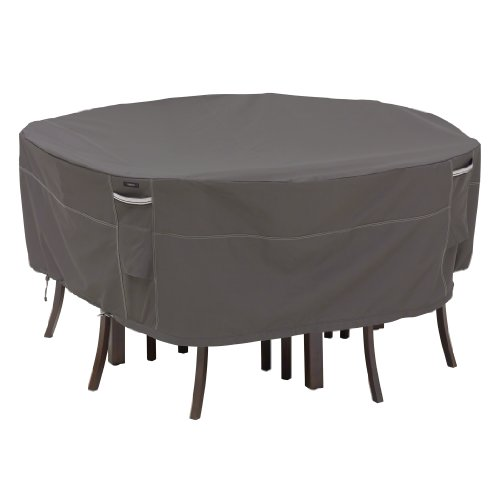 Classic Accessories Ravenna Water-Resistant 94 Inch Round Patio Table & Chair Set Cover