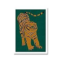 ウォールアート家の装飾ポスターイエロータイガーグリーン動物の写真漫画のキャンバス印刷された絵画リビングルームモダンアートワーク50x75cm(20x30in)フレームレス