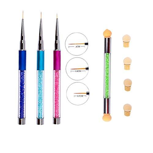 Frcolor 3 Pcs Nail Art Dotting Peinture Dessin Nail Pull Pen Grand avec Couleur Brosse À Ongles En Plastique Spong avec 4 Têtes De Remplacement