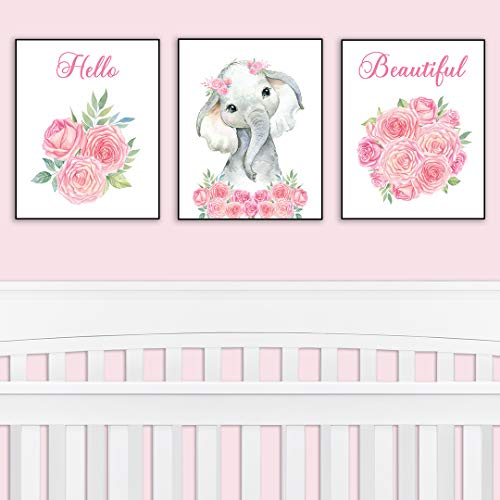 Nursery Decor Safari Elephant Bedroom Wall Art Decor For Nursery Decorative Easy To Frame Printed Pictures 8x10 Inch 3 Unframed Prints Sweet Elephant Baby Girl Nursery Or
