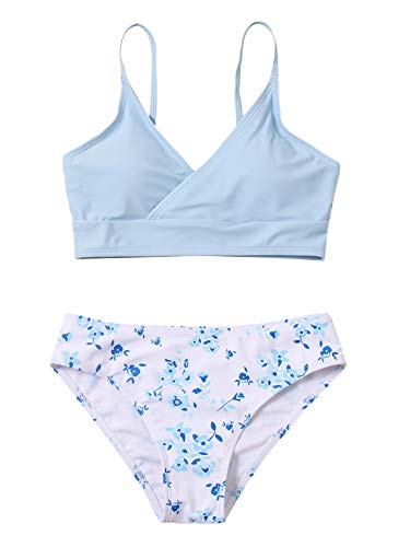 SOLY HUX Girl's Bikini Bathing Suit Two Piece Swimsuits Blue and White 150