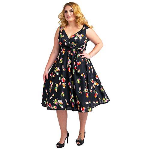 Damen Kleid 40er 50er Jahre Swing Stil Vintage Rockabilly Damen Retro Prom Party Plus Size Kleider Gr. 52, Schwarz
