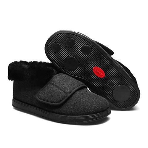 bjyxszd ZGHHTDTY Pantuflas diabéticas para Hombres y Mujeres, Pegatinas Mágicas Ajuste de Zapatos Planos,cálido Cuello Real Cuello Edema Pies Pie Embarazadas Zapatos de algodón de azúcar-Negro_42