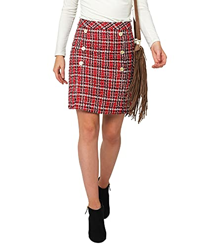 Joe Browns Chic Check Skirt Gonna, Rosso, 38 Donna