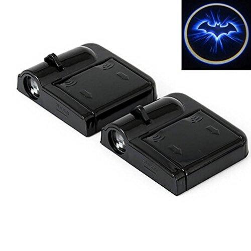 ALTcompluser 2 Stk Türbeleuchtung logo, Wireless Auto Schwarzer Schläger Autotür Projektion LED Door Shadow Licht Laser Projektor Geist Magnet Sensor Lampen Set Blue Bat Batman schwarz