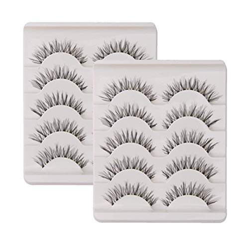 KFZR 10 Pairs False Lashes Eyelashes Natural Look Handmade Crisscross 3D...