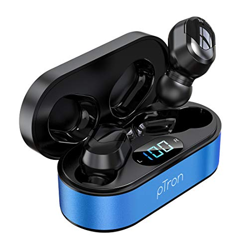 pTron Bassbuds Plus True Wireless Bluetooth 5.0 Headphones with Deep Bass, Made in India, IPX4 Water/Sweat Resistant, Passive Noise Canceling TWS Earbuds, Digital Display & Built-in Mic (Blue & Black)