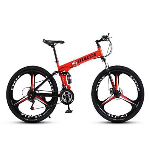 RPOLY 30 de Velocidad Bicicleta de Montaña Plegable, Doble Freno de Disco, Bicicleta Plegable/Unisex, Variable Fuera de la Carretera Velocidad de la Bicicleta,Red_24 Inch