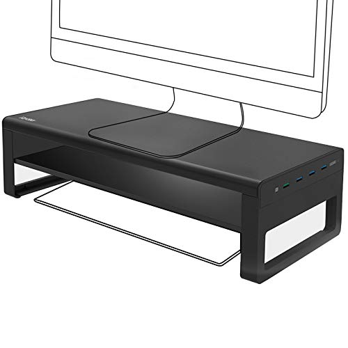 Vaydeer 2 Tiers Monitor Stand with Fast Charger and 4 USB3.0 Ports, Support Data Transfer and Charging, Monitor Riser Stand for PC, Laptop, Computer Screen up to 32 Inch(Metal Aluminium, Black)
