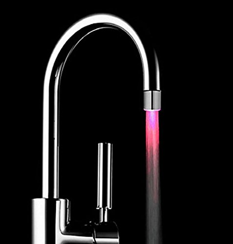 ZEZKT-Home Wasser Leuchtend LED Wasserhahn Licht Lampe Color Ändern Wasser Leuchten Wasserstrahl Dusche LED Wasserhahn Armaturen Licht (Silber)