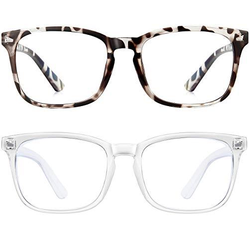 Blue Light Blocking Glasses Square Computer Glasses Women/Men,Wearpro 2PACK Nerd Reading Gaming Glasses Non Prescription