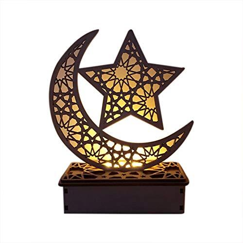 Primrosely Mubarak Ramadan - Lámpara LED de madera para manualidades, diseño del islam musulmán Eid festival luz decorativa para el hogar, oficina y palacio, 5.91 x 2.36 x 7.48 pulgadas normal