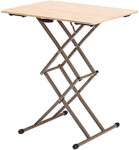 WSHFHDLC Mesa de Centro Mesa de bambú Plegable, Mesa de Comedor, Escritorio Simple, Ascensor y Ajustar la pequeña Mesa de Madera Tablas de café pequeñas (Color : A)