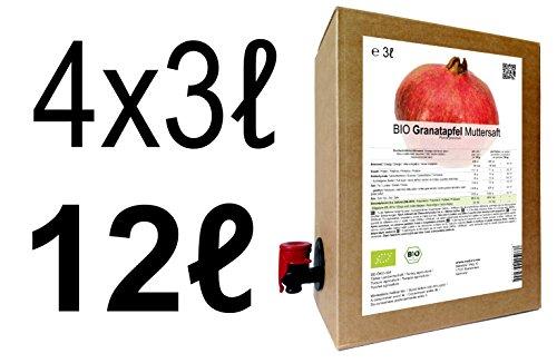 BIO Granatapfel Muttersaft - 100% Direktsaft 12 Liter ( 4 x 3 Liter )