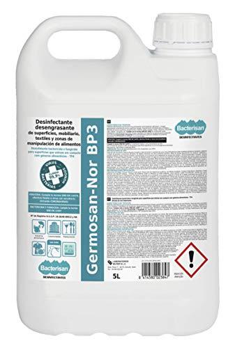 Bacterisan Bacterisan Germosan No Bp3 5L | Desinfectante Multiusos Triple Acción| Elimina el 99.95 de Virus, Gérmenes y Bacterias de Todo Tipo de Objetos Superficies y Textiles Profesional 5000 ml