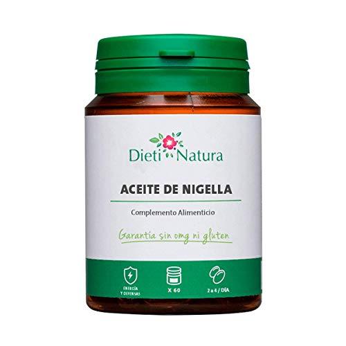 Aceite de Nigella 200 cápsulas de Dieti Natura. Prevención para la primavera [Fabricado en Francia][Garantía Sin OGM ni Gluten] (Bote de 200 cápsulas)