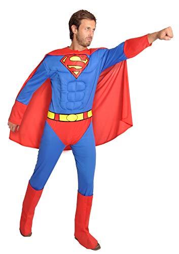 Ciao- Superman Costume Adulto Originale DC Comics (Taglia L) con muscoli pettorali imbottiti Disfraces, Color Azul/Rojo, 11686