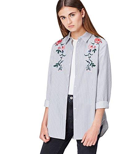 find. Damen Hemd mit Blumenstickerei Blau (Blue/white), 34 (Herstellergröße: X-Small)