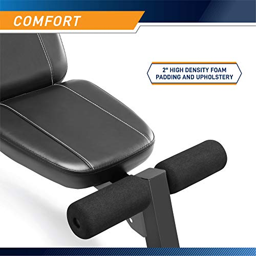Marcy Multi-Position Workout Utility Bench for Home Gym Weightlifting and Strength Training SB-10115, Black