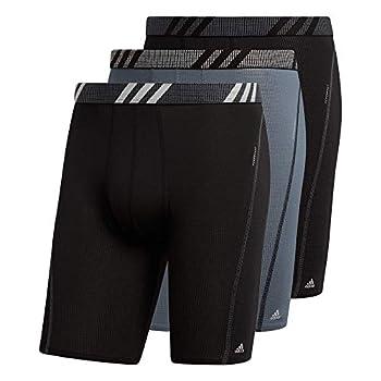 adidas Men s Sport Performance Mesh Long Boxer Brief Underwear  3-Pack  Black/Onix Grey/Black Medium