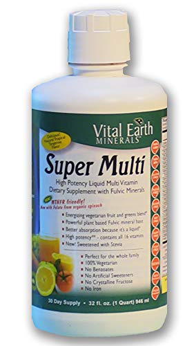 Vital Earth Minerals Super Multi Liquid Vitamins 32 Fl. Oz. - 1 Month Supply- High Potency - MTHFR Friendly- Vegetarian - Liquid Multi Vitamin Supplement with Ionic Fulvic Minerals