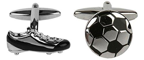 Boutons de manchette fantaisie en forme de chaussure de football.