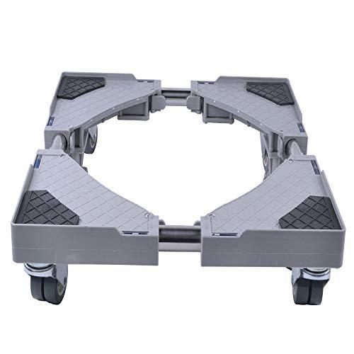 SMONTER Waschmaschine verschiebbar Sockel, Podeste & Rahmen für Kühlschrank, Multifunktionaler beweglicher verstellbare Stand für Trockner, 4Räder, Grau