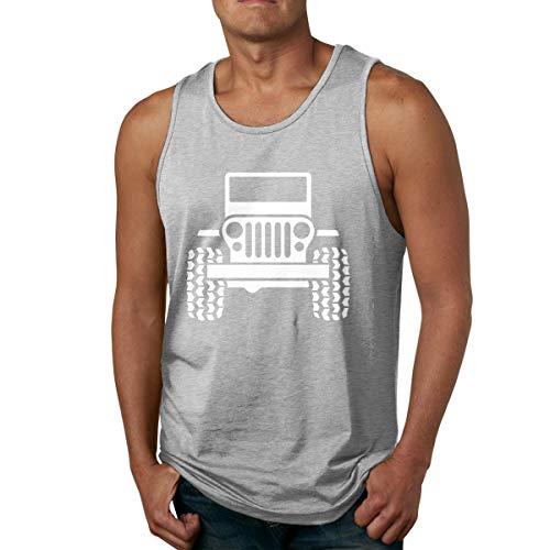 Abigails Home Jeep décalcomanie Hommes débardeur Chemises sans Manches t-Shirt de Sport de Basket-Ball t-Shirts de Remise en Forme en Plein air(M,Gris)