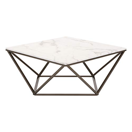 """Zuo Modern Tintern Coffee Table, Stone and Antique Brass, Square Marble-like Top, Architecturally Inspired Base, Modern Open-air Design, 150 lbs Weight Capacity, Dimensions 36""""W x 16.5""""H x 36""""L"""