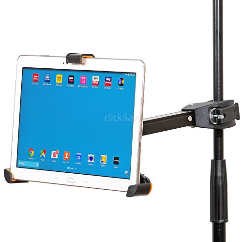 click4av PAD405 Tablet Microphone or Music Stand Clamp Mount Compatible With iPad or iPad Air and most Tablets 8.9-10.4 inch