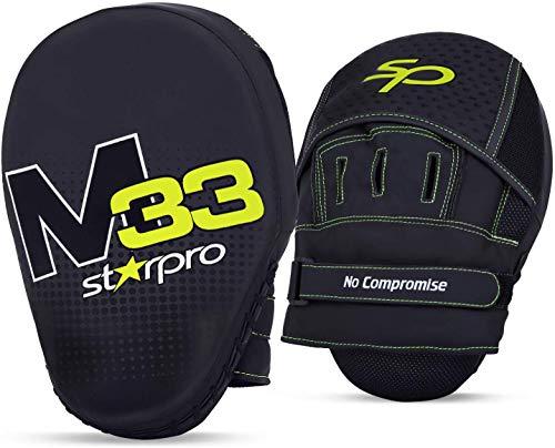 Starpro M33 curvos Manoplas Boxeo | Cuero sintético Mate | Negro y Verde | Pads para Coaching en Boxeo MMA Kickboxing Artes Marciales Muay Thai y Entrenamiento