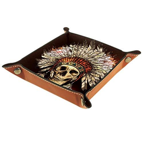 rodde Bandeja de Valet Cuero para Hombres - Cráneo Tribal Indio - Caja de Almacenamiento Escritorio o Aparador Organizador,Captura para Llaves,Teléfono,Billetera,Moneda