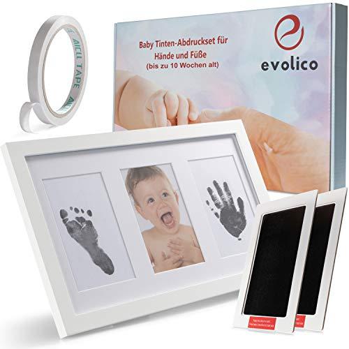 """EVOLICO Baby Handabdruck und Fußabdruck Set mit\""""Clean Touch\"""" Stempelkissen ohne Farbe - Baby Abdruckset mit hochwertigen Bilderrahmen - Fußabdruck Babyset Geschenk - Wunderschöne Baby-Erinnerungen"""