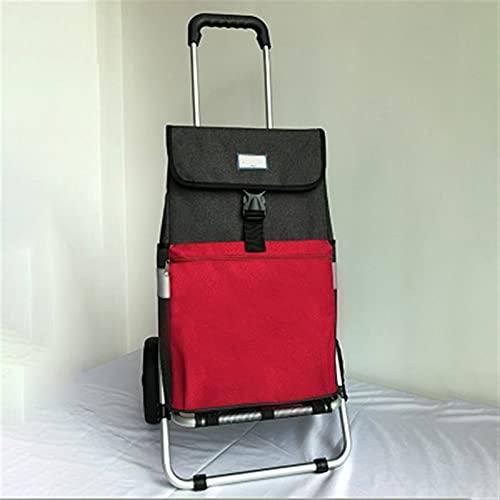 WANGYIYI Carro de Compras de Gran Capacidad Carros de la Compra Plegables multifuncionales Camión de Mano Impermeable portátil de Lona para el hogar para Anciano y niño (Color : Grey with Red)