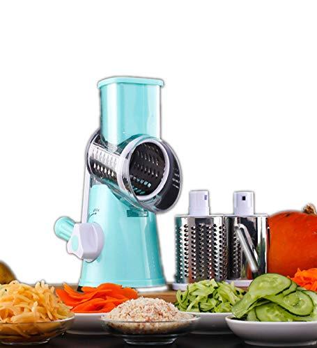 SFXFJ Multifunktionale Mandoline Gemüsehobel Gemüseschneider, Tragbare Schneidemaschine Reibe Küchenwerkzeug, Veggie Käse Allesschneider Trommelreibe Set mit 3 Messerfässern, Blau