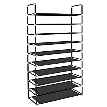 ERONE Shoe Rack Organizer  Tall Shoe Storage for Closets Non-Woven Fabric Metal Sturdy Shoe Shelf Tower Cabinet for Entryway  Black 10 Tier