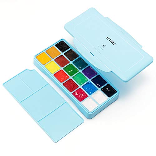 18 Colors Gouache Paint Set, Watercolor Paint Set with Jelly Cup in Portable Case with Portable Palette, 18 Vibrant Color for Artists, Students, Newbie