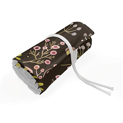 ABAKUHAUS Botanisch Etui met Rolomslag voor Pennen, Bosgebladerte tot bloei komen, Duurzame & Draagbare Potloodetui, 72 Vakjes, Pale Pink Brown