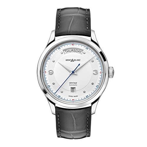 Montblanc orologio uomo Heritage Automatic Day Date 39mm Acciaio alligatore Grigio 119947