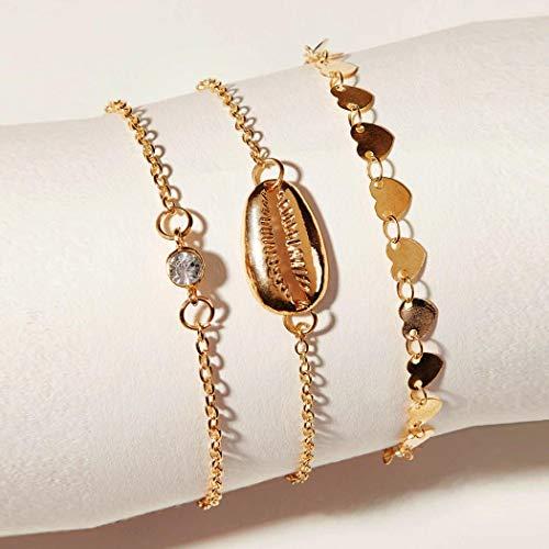 Yienate Pulsera de aleación de playa con diamantes de imitación y lentejuelas de oro para mujeres y niñas (3 piezas)