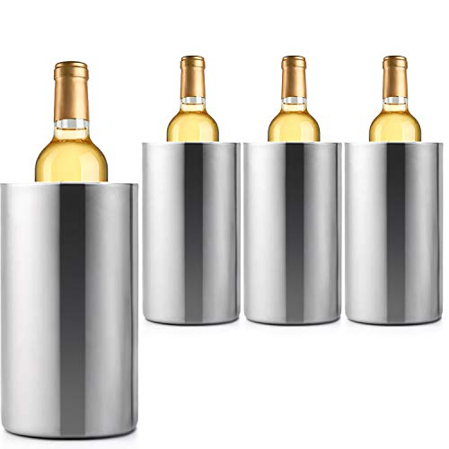 Jolitac 4 Pack Wine Chiller Bucket, Stainless Steel Double Wall Wine Cooler Bucket, Keeps Cold for Hours Wine Bottle Cooler Chiller Insulated Champagne Beer Ice Bucket (4 PCS)
